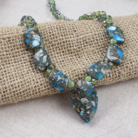 Green Gemstone & Handmade Teardrop Beaded Necklace