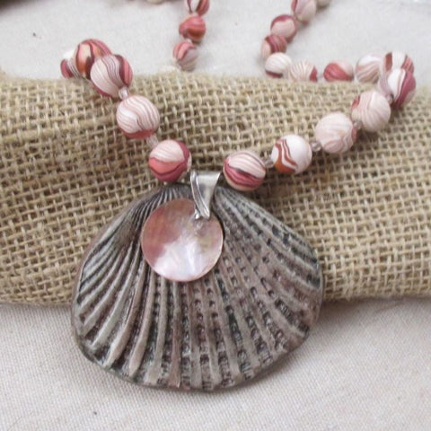 Pink & Tan Handmade Beaded Necklace with Seashell Pendant