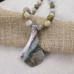 Beautiful Ocean Jasper Pendant Necklace