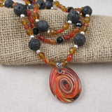 Rustic Statement Necklace in Black Lava and Carnelian