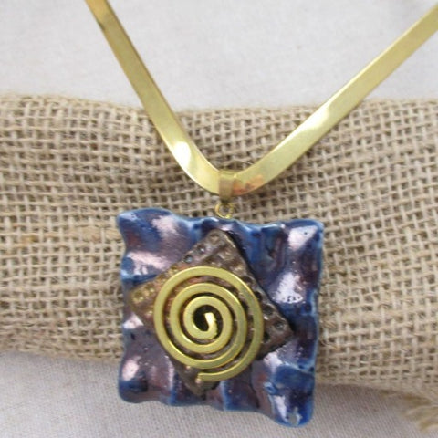 Navy Blue Handmade  Raku Pendant  Spiral On Gold Neck Wire
