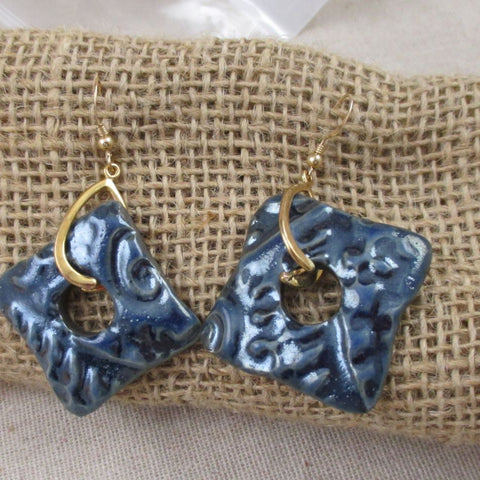 Navy Blue Handmade Raku Earrings