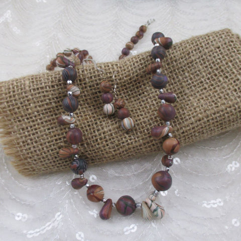 Handmade Lavender & Tan Artisan Bead Necklace & Earrings