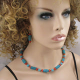Turquoise & Cinnabar Necklace & Earrings