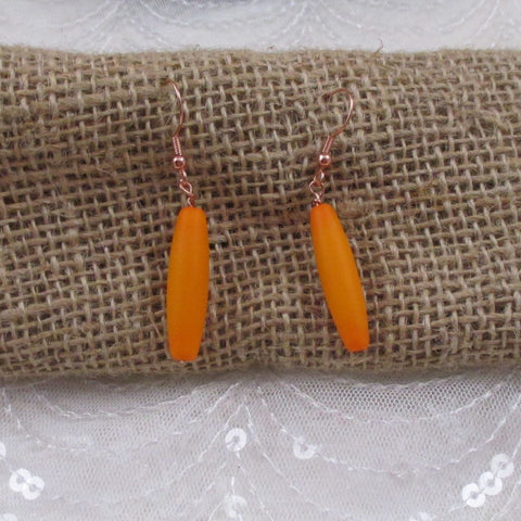 Orange Sea Glass Teardrop Earrings
