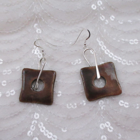 Brown Artisan Handmade Ceramic Earrings Raku Glaze