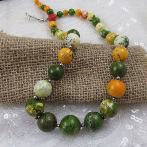 Handmade Big Bold Beaded Necklace in Colorful Jasper
