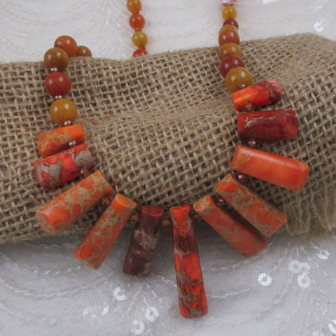 Oragnge Bib Gemstone Necklace