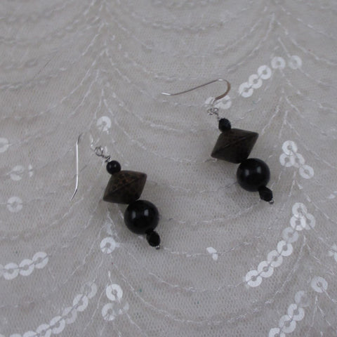 Black Onyx & Wood Earrings