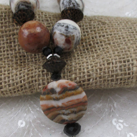 Brown Gemstone & Wood Pendant Necklace