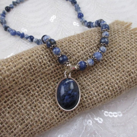 Blue Gemstone Pendant Necklace Bead Necklace