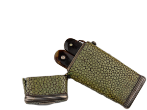Shagreen Lancet Case with Two Thumb Lancets