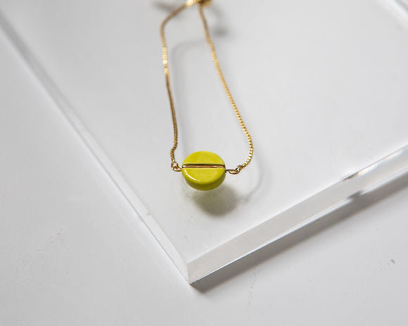 Porcelain and gold neon green adjustable bracelet