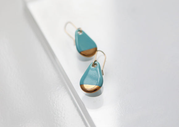 Teardrop Turquoise Porcelain and Gold Earrings