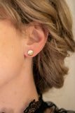 Gold and Porcelain White Mini Circle Studs - Niamh.Co