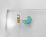 Porcelain and Gold Turquoise Huggie Hoop Earrings
