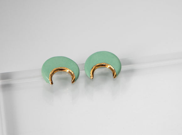 Gold and Porcelain Crescent Mint Green Studs - Niamh.Co
