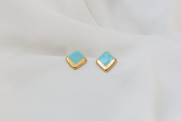 Gold and Porcelain Turquoise Square Studs - Niamh.Co