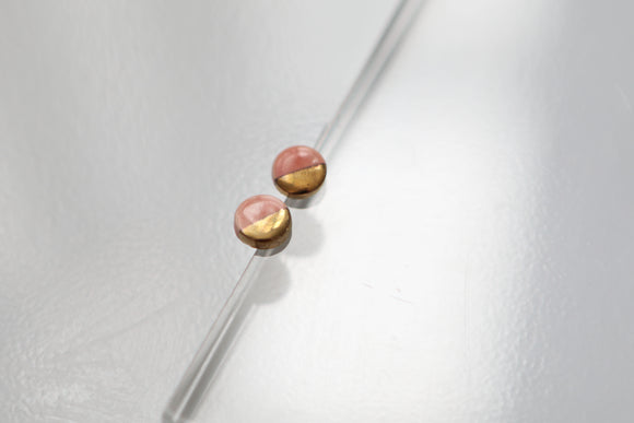 Gold and Porcelain Pink Mini Circle Studs - Niamh.Co