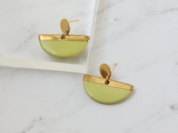 Porcelain and Gold Chartreuse Drop Earrings