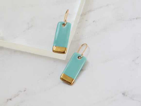 Porcelain and Gold Turquoise Rectangular Drop Earrings