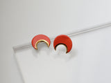 Gold and Porcelain Red Crescent Studs