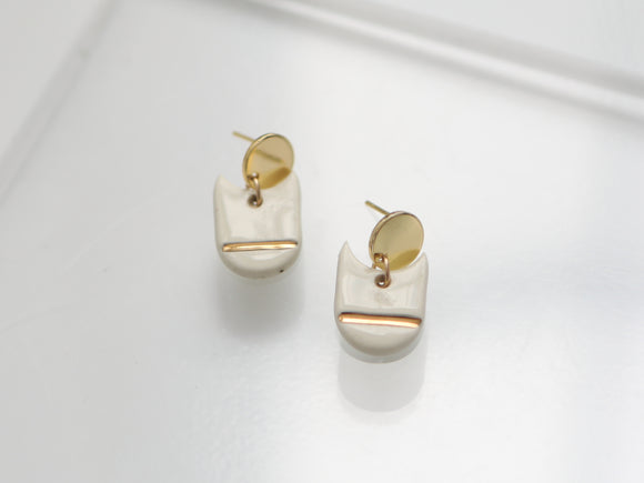 Porcelain and Gold Drop Earrings - Niamh.Co