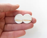 Porcelain and Gold White Large Circle Studs - Niamh.Co