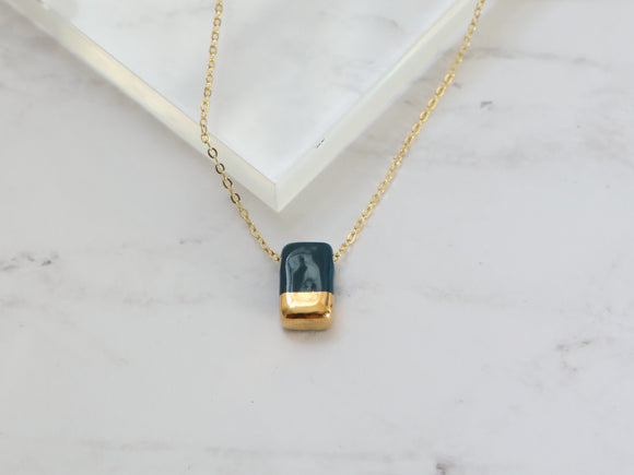 Porcelain and Gold Navy Rectangular Necklace