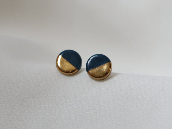 Gold and Porcelain Navy Mini Circle Studs