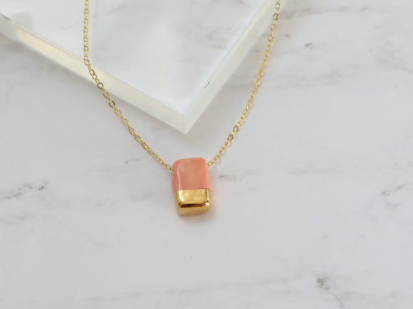 Porcelain and Gold Pink Rectangular Necklace