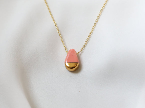 Porcelain and Gold Pink Teardrop Necklace - Niamh.Co