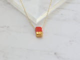 Porcelain and Gold Red Rectangular Necklace