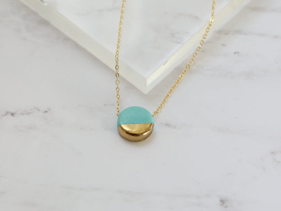 Porcelain and Gold Turquoise Circular Necklace