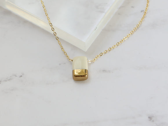 Porcelain and Gold White Rectangular Necklace