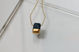 Porcelain and Gold Navy Rectangular Necklace - Niamh.Co