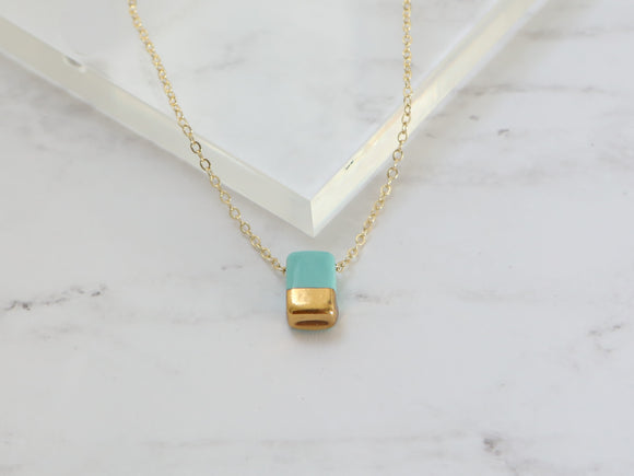 Turquoise and Gold Rectangular Porcelain Necklace