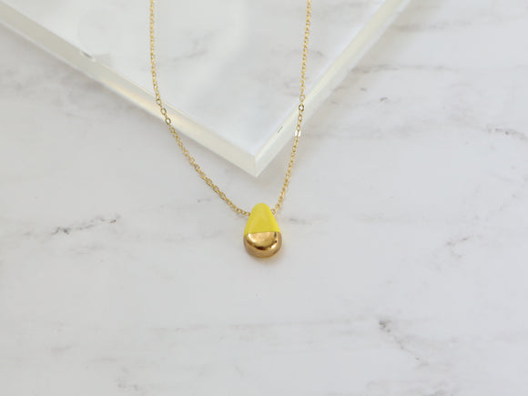 Porcelain and Gold Yellow Teardrop Necklace - Niamh.Co