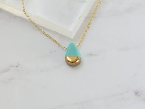 Turquoise and Gold Porcelain Teardrop Necklace - Niamh.Co