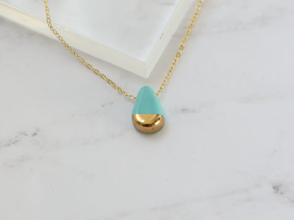 Turquoise and Gold Porcelain Teardrop Necklace