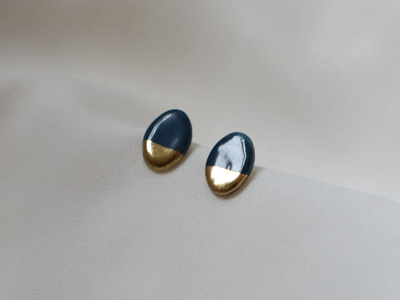 Gold and Porcelain Navy Oval Studs