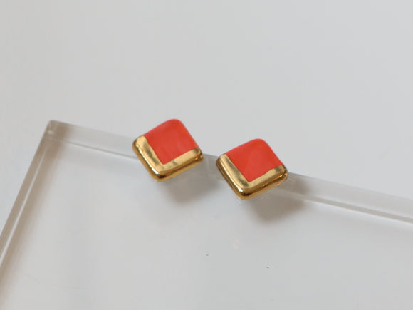 Gold and Porcelain Red Square Studs - Niamh.Co