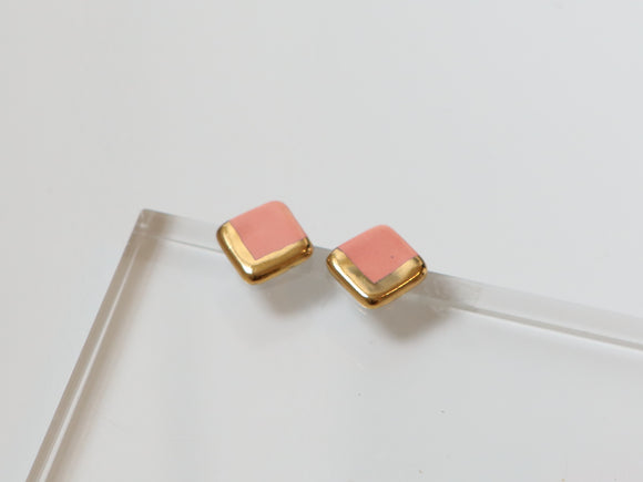 Gold and Porcelain Pink Square Studs - Niamh.Co