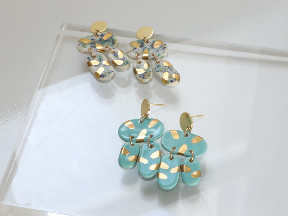 Porcelain and Gold Chandelier Drop Earrings