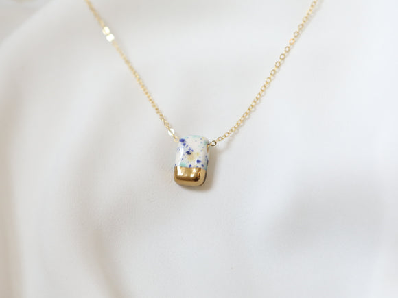 Porcelain and Gold Speckled Rectangular Necklace - Niamh.Co
