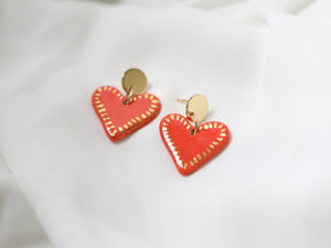 Porcelain and Gold Heart Drop Earrings - Niamh.Co