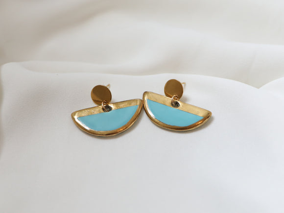 Porcelain and Gold Turquoise Drop Earrings