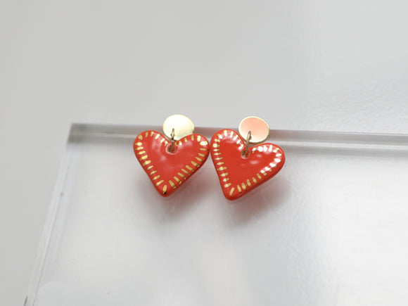 Porcelain and Gold Heart Drop Earrings