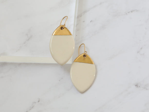 Porcelain and Gold Leaf Drop Earrings
