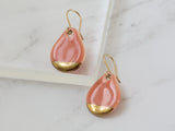 Teardrop Pink and Gold Porcelain Drop Earrings